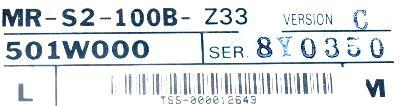 Mitsubishi MR-S2-100B-Z33 label image
