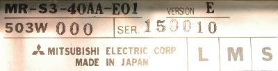 Mitsubishi MR-S3-40AA-E01 label image
