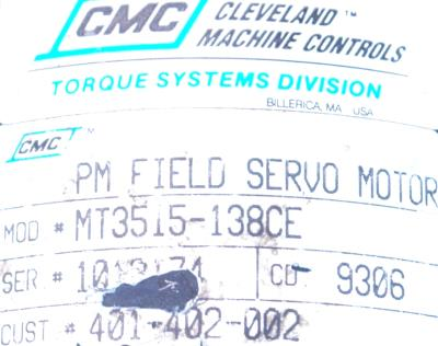 CMC CLEVELAND MOTION MT3515-138CE label image