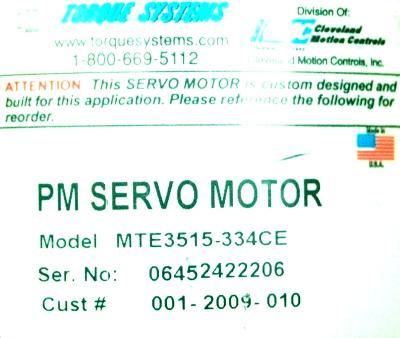 CMC CLEVELAND MOTION MTE3515-334CE label image
