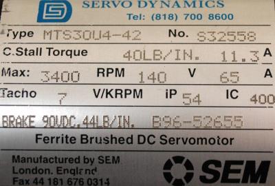 SEM MTS30U4-42 Motors-DC Servo