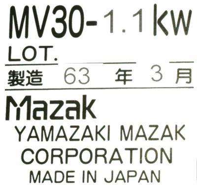 MAZAK MV30-1.1KW label image