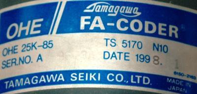 Tamagawa Seiki OHE25K-85 label image