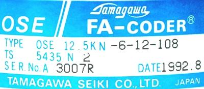 Tamagawa Seiki OSE12.5KN-6-12-108 label image