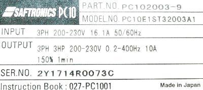 Saftronics PC102003-9 label image