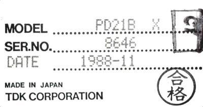 TDK PD21BX label image