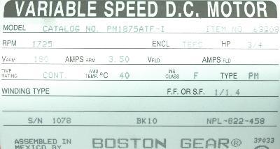 BOSTON GEAR PM1875ATF-I Motors-DC Servo