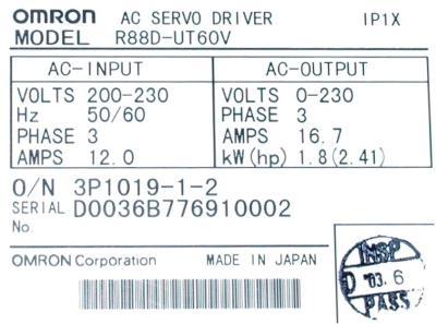 Omron R88D-UT60V label image