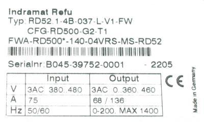 INDRAMAT RD52.1-4B-037-L-V1-FW label image