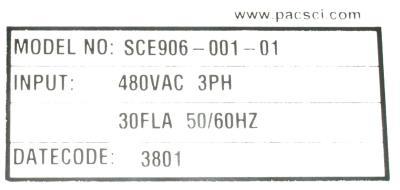Pacific Scientific SCE906-001-01 label image