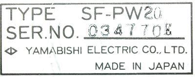 Yamabishi Electric SF-PW20 label image
