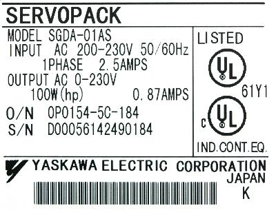 New Refurbished Exchange Repair  Yaskawa Drives-AC Servo SGDA-01AS Precision Zone