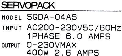 Yaskawa SGDA-04AS label image