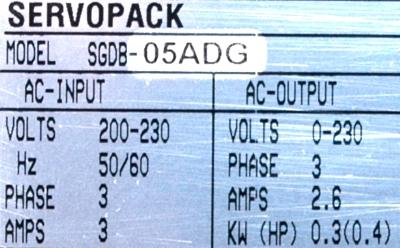 Yaskawa SGDB-05ADG label image