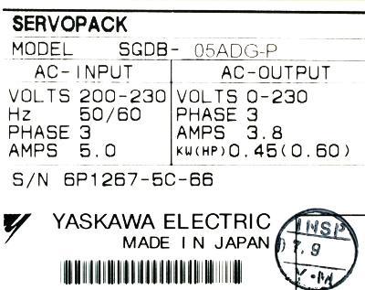 Yaskawa SGDB-05ADG-P label image