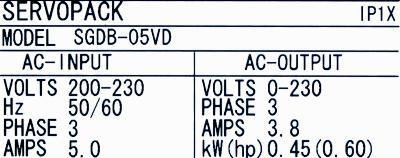 Yaskawa SGDB-05VD label image