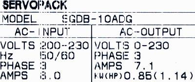 Yaskawa SGDB-10ADG label image