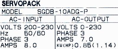 Yaskawa SGDB-10ADG-P label image
