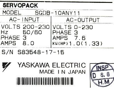 Yaskawa SGDB-10AN-Y11 label image