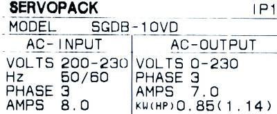 Yaskawa SGDB-10VD label image