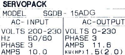 Yaskawa SGDB-15ADG label image