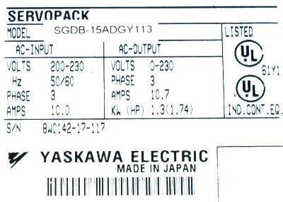 Yaskawa SGDB-15ADG-Y113 label image