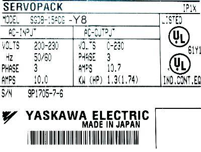 Yaskawa SGDB-15ADG-Y8 label image
