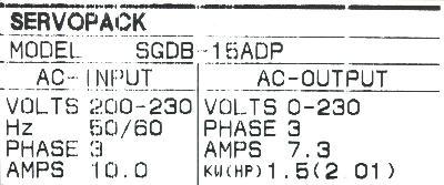 Yaskawa SGDB-15ADP label image