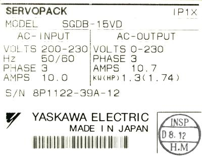 Yaskawa SGDB-15VD label image