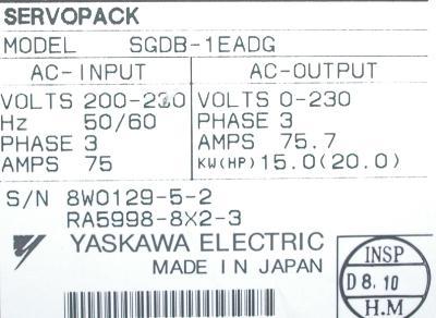 Yaskawa SGDB-1EADG label image