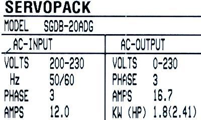Yaskawa SGDB-20ADG label image