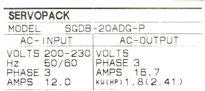 Yaskawa SGDB-20ADG-P label image
