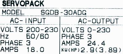 Yaskawa SGDB-30ADG label image