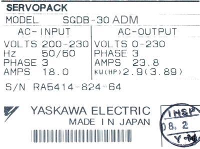 Yaskawa SGDB-30ADM label image