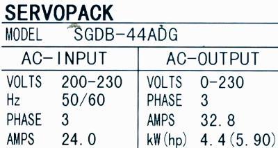Yaskawa SGDB-44ADG label image