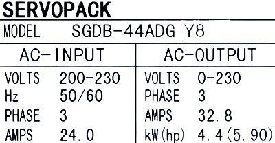 Yaskawa SGDB-44ADG-Y8 label image