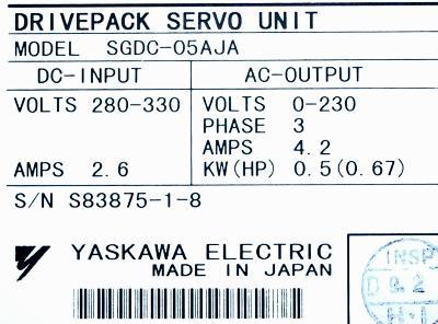 Yaskawa SGDC-05AJA label image