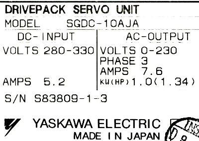 Yaskawa SGDC-10AJA label image