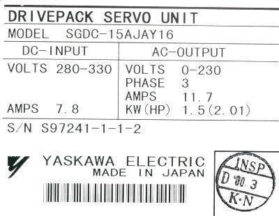 Yaskawa SGDC-15AJA-Y16 label image