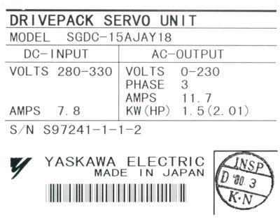 Yaskawa SGDC-15AJA-Y18 label image