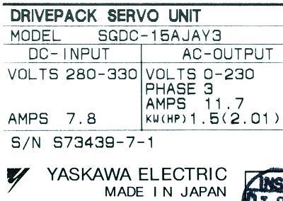 Yaskawa SGDC-15AJA-Y3 label image