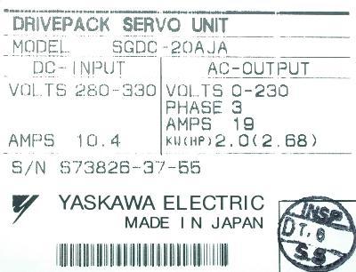 Yaskawa SGDC-20AJA label image