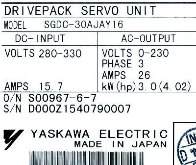 Yaskawa SGDC-30AJA-Y16 label image