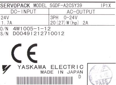 Yaskawa SGDF-A2CS-Y39 label image