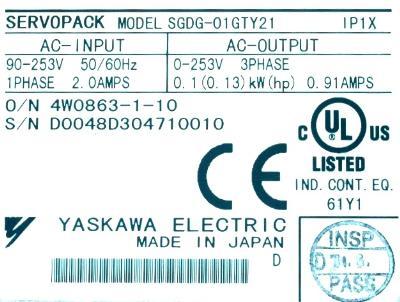 Yaskawa SGDG-01GT-Y21 label image
