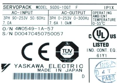 Yaskawa SGDG-10GT label image