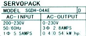 Yaskawa SGDH-04AE label image