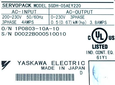 Yaskawa SGDH-05AE-Y220 label image