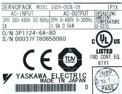 Yaskawa SGDH-05DE-OY label image