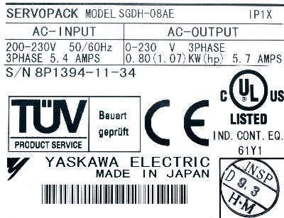 Yaskawa SGDH-08AE label image